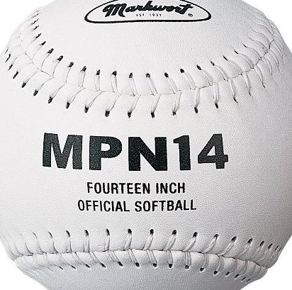 Image 0 of 14-Inch Softball White Leather cover PU core by Markwort