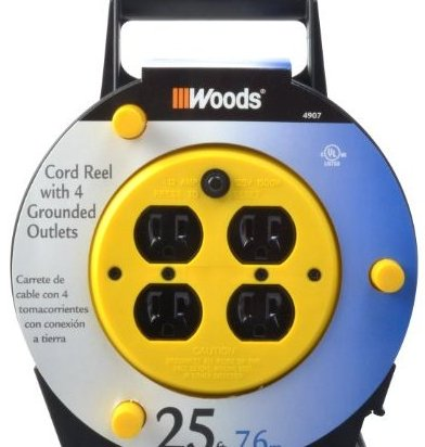 Image 0 of 4907 25-Foot Extension Cord Reel with 4-Outlets and 12-Amp C by Woods