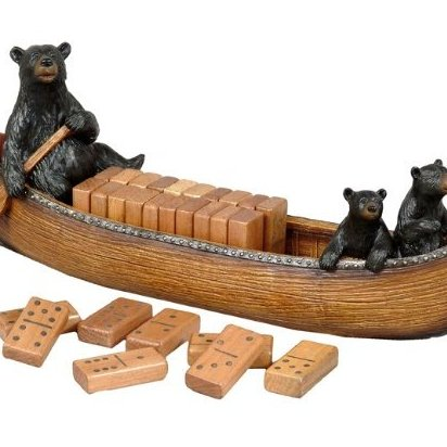 Image 0 of Bear Canoe Domino Set by Black Forest Decor