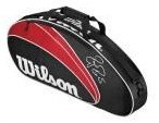 Image 0 of 12 Federer 3X Tennis Bag-Red/Black/White by Wilson