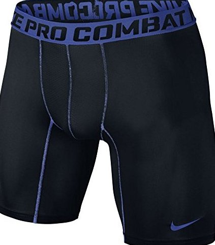 Image 0 of Mens  Core Compression Six Inch Shorts Black/Game Royal Blue 5 by Nike