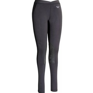 Image 0 of Womens Ventilated Schooling Tights Black/Charcoal Sma by TuffRider