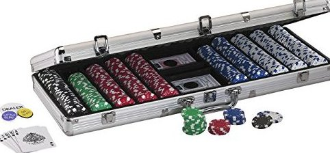 11.5 Gram Texas Hold em Poker Chip Set with 500 Striped D by Fat Cat