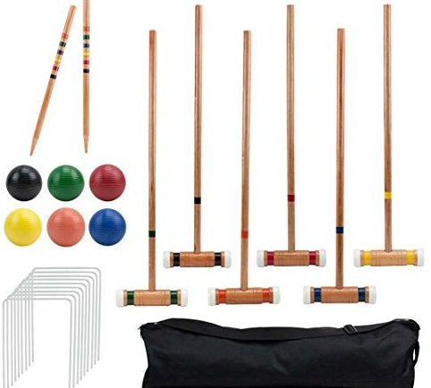Image 0 of Six Player Deluxe Croquet Set with Sturdy Bla by Crown Sporting Goods