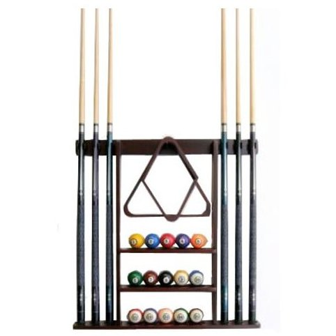 Image 0 of 6 Pool Cue - Billiard Stick Wall Rack Made of Wood by Iszy Billiards