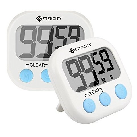 2 Pack Digital Kitchen Timer: Large LCD Display Battery by Etekcity