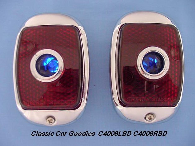 1937-1938 Chevy Black Tail Lights (2) Glass Blue Dots
