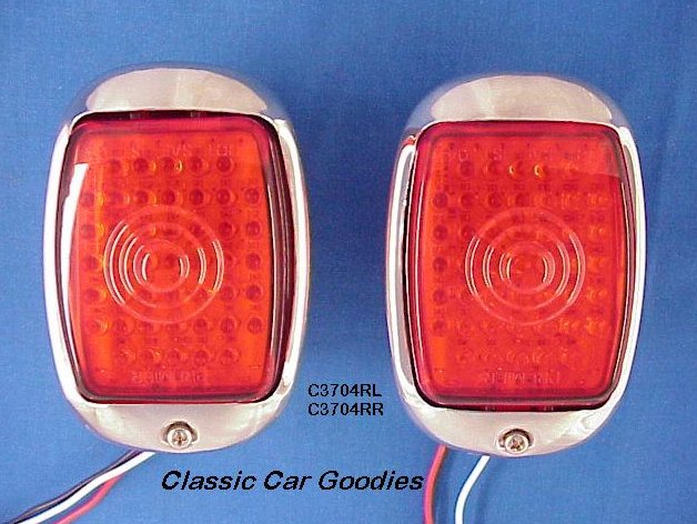 1937-1938 Chevy Led Tail Lights Stainless Steel Housings (2)
