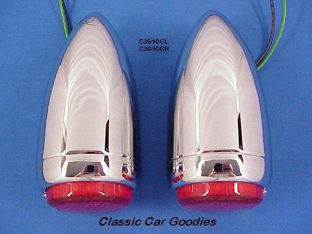 1939 Chevy Led Tail Lights (2) Chrome Street Rodder