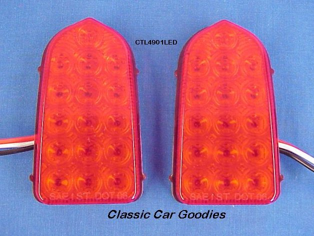 1949-1950 Chevy Red LED Tail Light Inserts (2) 12V New!