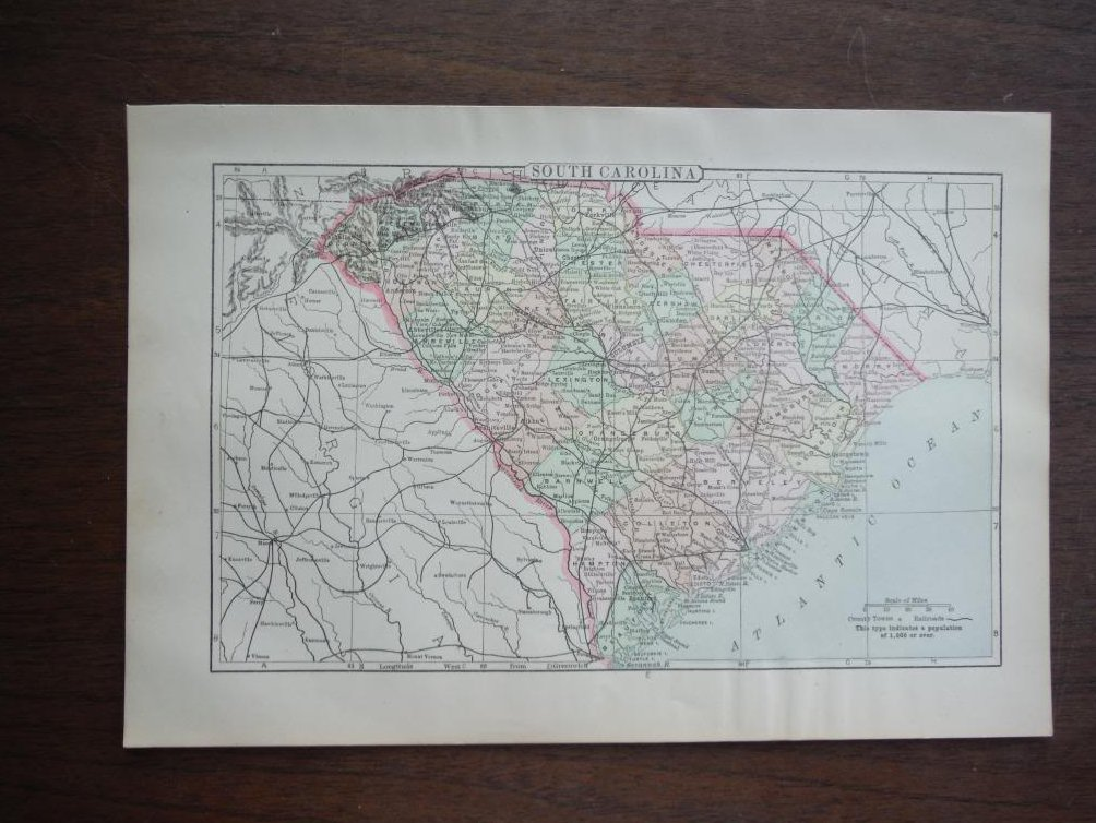Image 1 of Johnson's  Map of South Carolina -  Original (1895)
