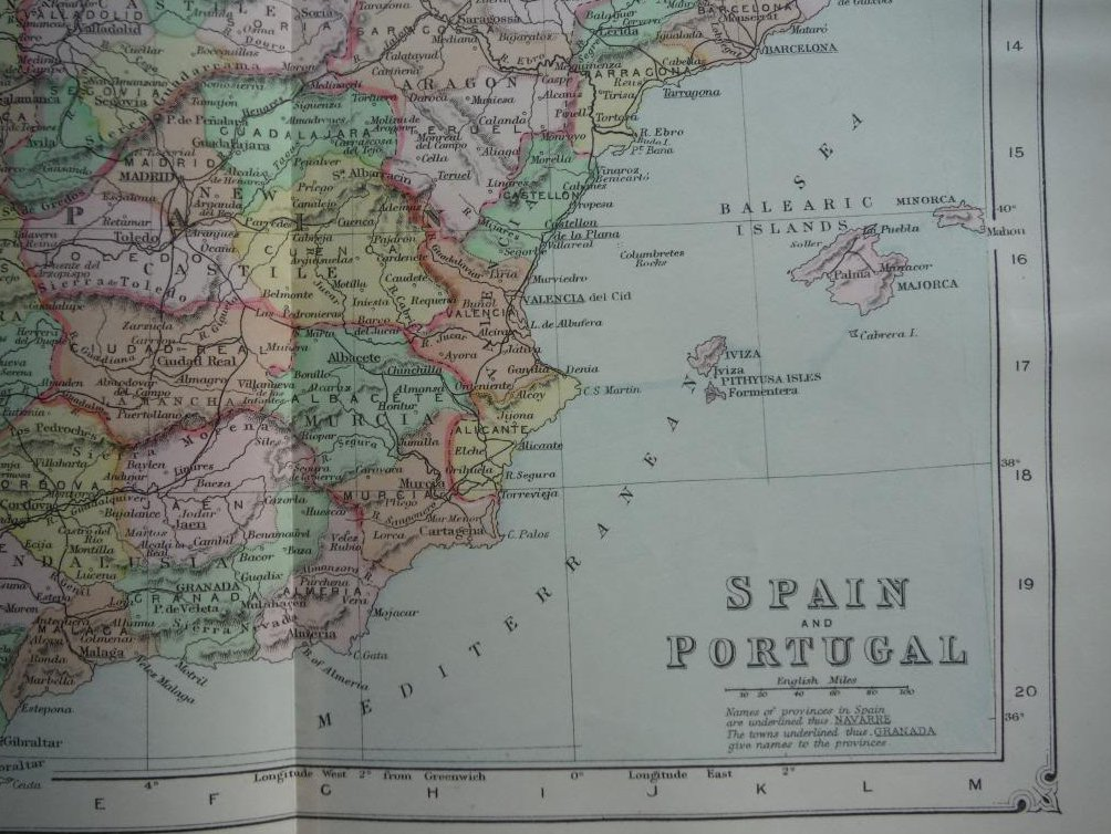 Image 1 of Johnson's  Map of Spain and Portugal -  Original (1895)