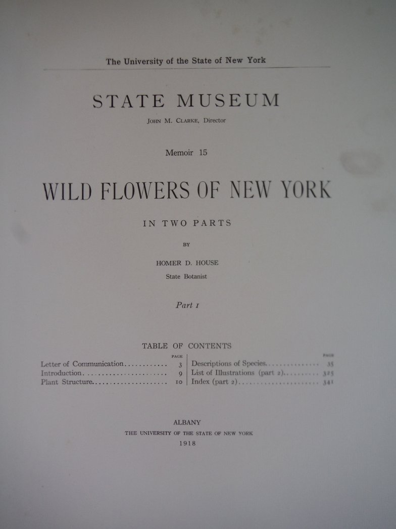 Image 1 of Wild Flowers of New York. In two parts. New York State Museum Memoir 15  Part 1