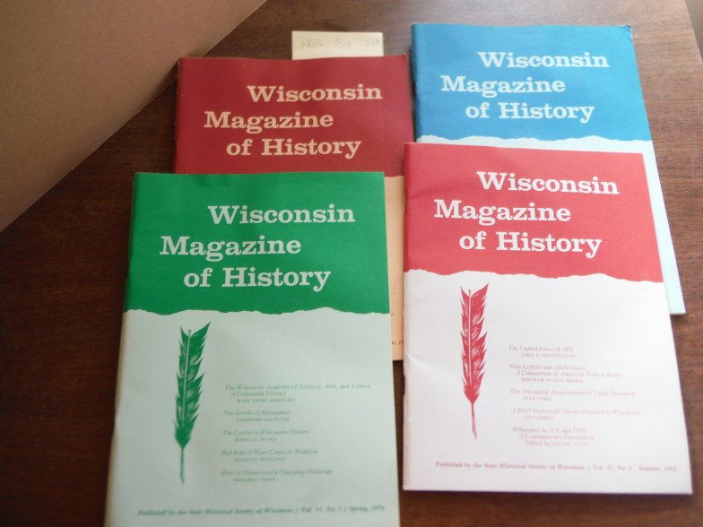 Image 0 of Wisconsin Magazine of History Vol 53 Nos. 1 - 4  1969-1970