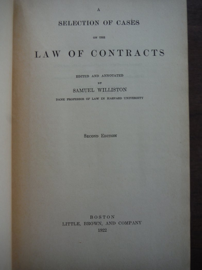 Image 1 of A Selection of Cases on the Law of Contracts