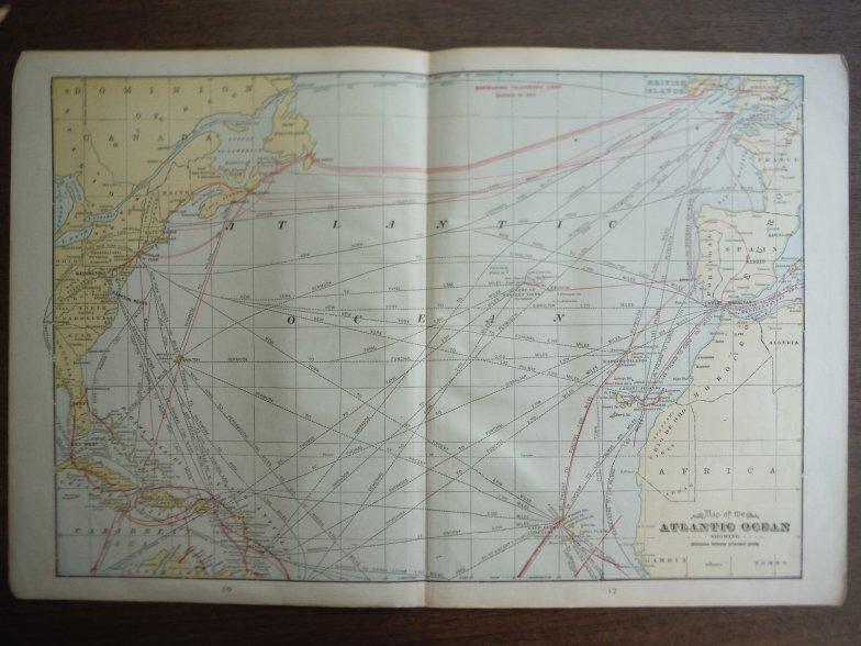 Image 0 of Cram's Map of the Atlantic Ocean Showing Distances between Principal Points (190