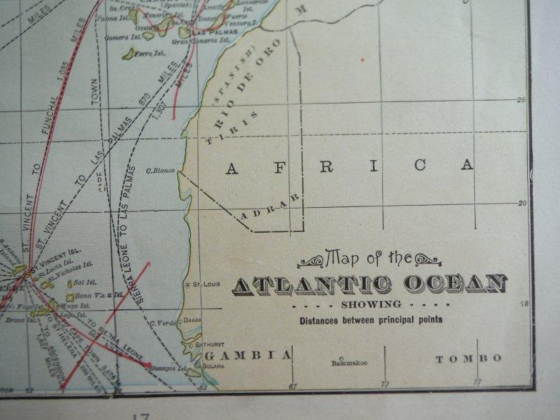 Image 1 of Cram's Map of the Atlantic Ocean Showing Distances between Principal Points (190