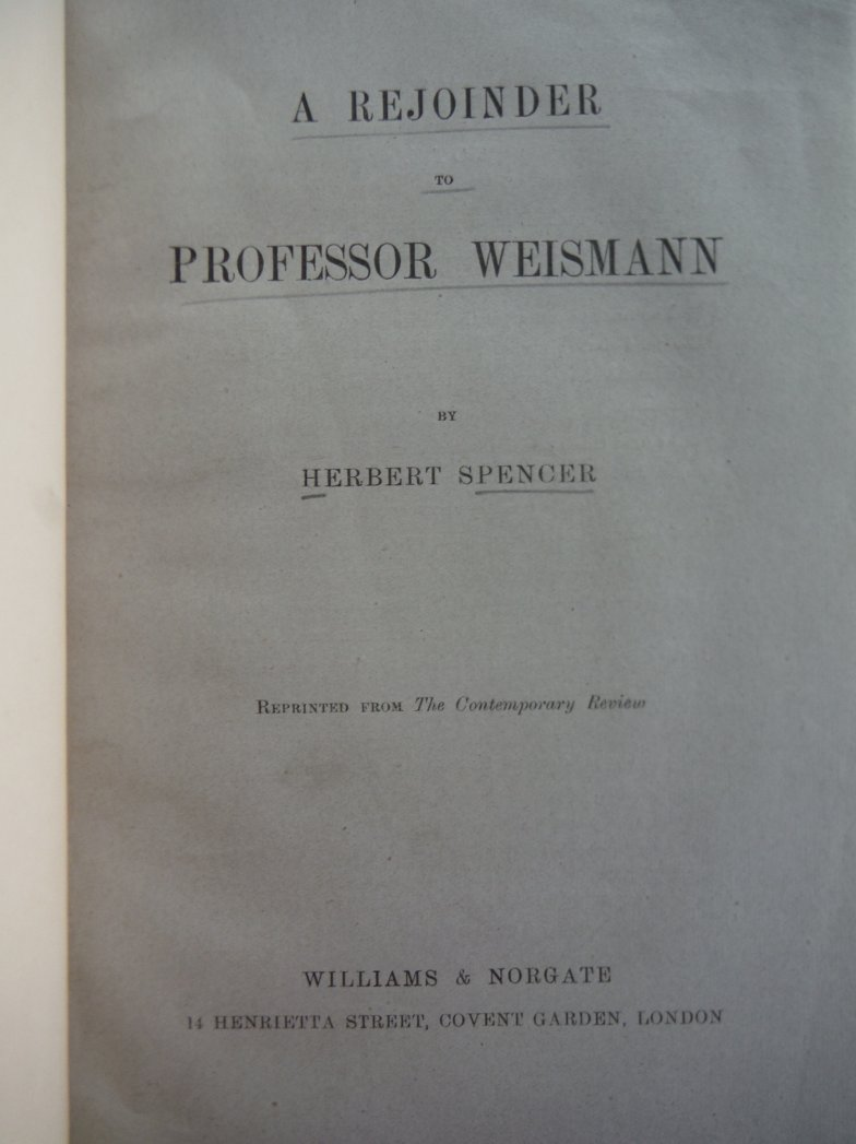 Image 1 of A Rejoinder To Professor Weismann