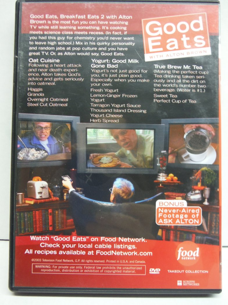 Image 1 of Food Network Takeout Collection DVD - Good Eats With Alton Brown - Breakfast Eat
