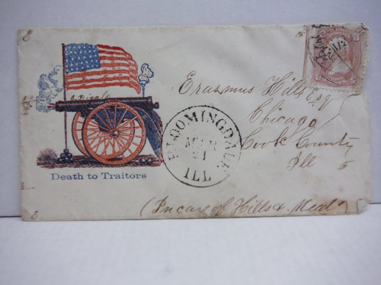 Image 0 of Civil War Patriotic Envelope with Stamp - Death to Traitors - March 1861