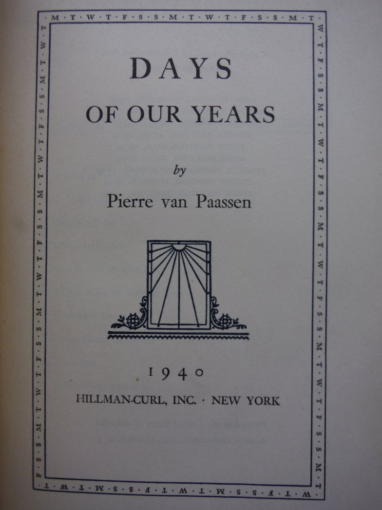 Image 1 of Days of Our Years: 1903 - 1938