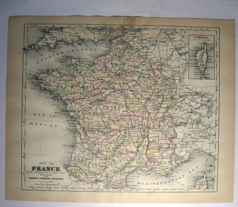 Johnson's Map of France  -  Original (1897)