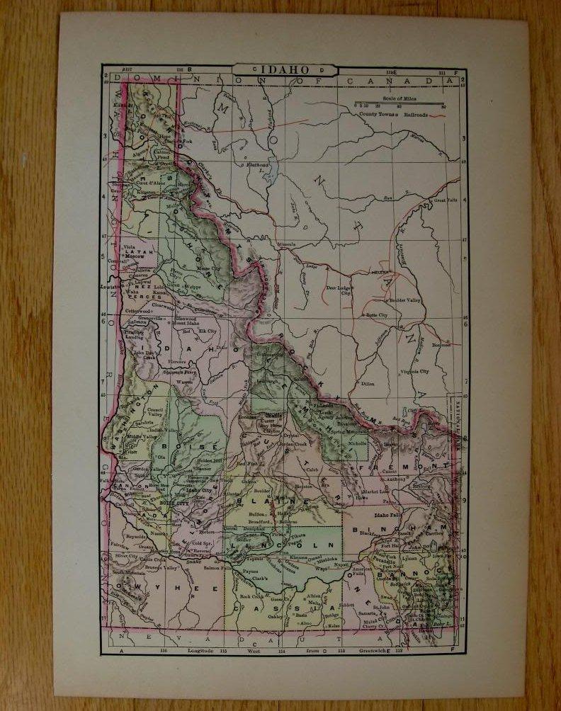 Johnson's  Map of Idaho -  Original (1897)