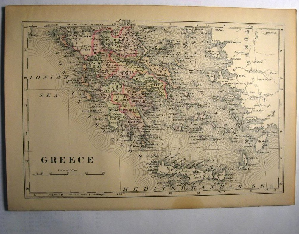 Johnson's  Map of Greece -  Original (1897)