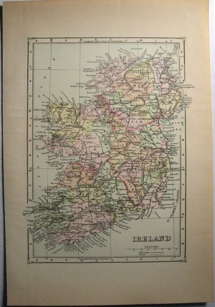 Johnson's  Map of Ireland -  Original (1897)