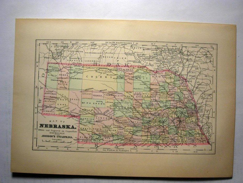 Johnson's  Map of Nebraska -  Original (1897)