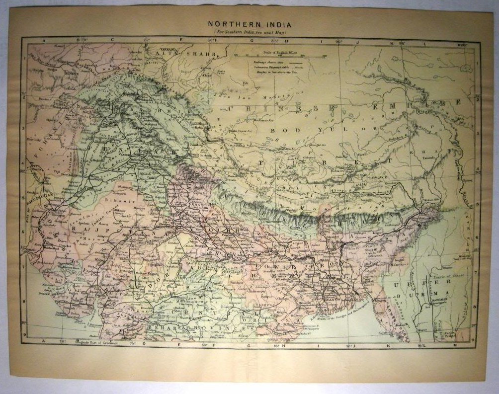 Johnson's  Map of Northern India -  Original (1897)