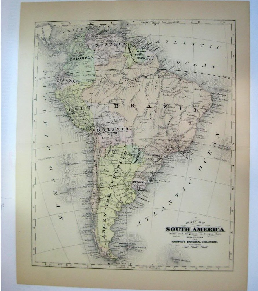 Johnson's  Map of South America -  Original (1897)