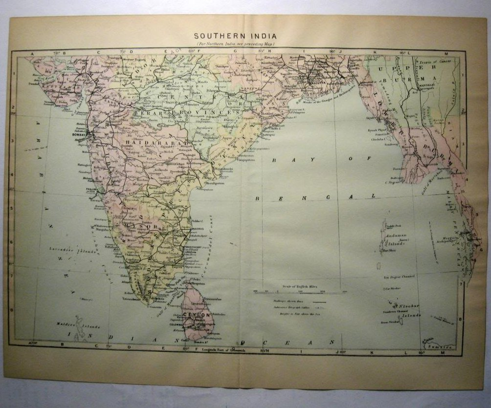 Johnson's  Map of Southern India -  Original (1897)