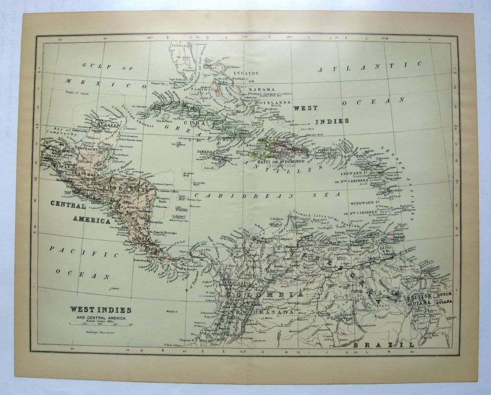 Johnson's  Map of West Indies and Central America -  Original (1897)