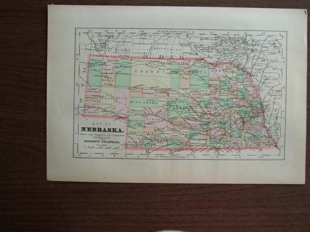 Johnson's  Map of Nebraska -  Original (1895)
