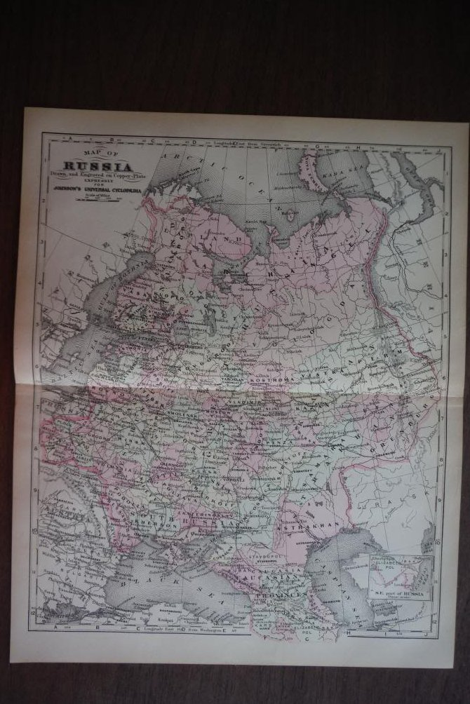 Johnson's  Map of Russia -  Original (1895)