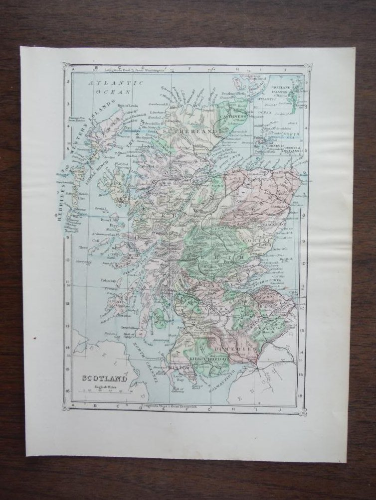 Johnson's  Map of Scotland  (Great Britain)-  Original (1895)