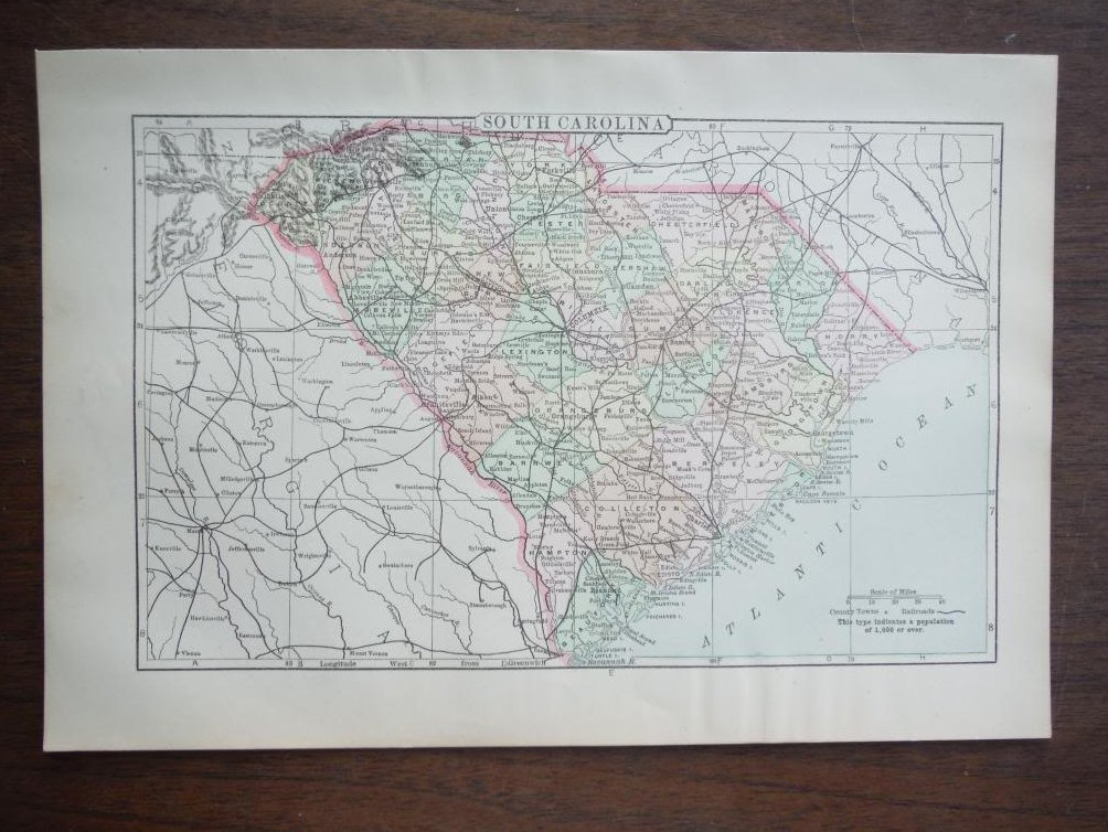 Image 0 of Johnson's  Map of South Carolina -  Original (1895)