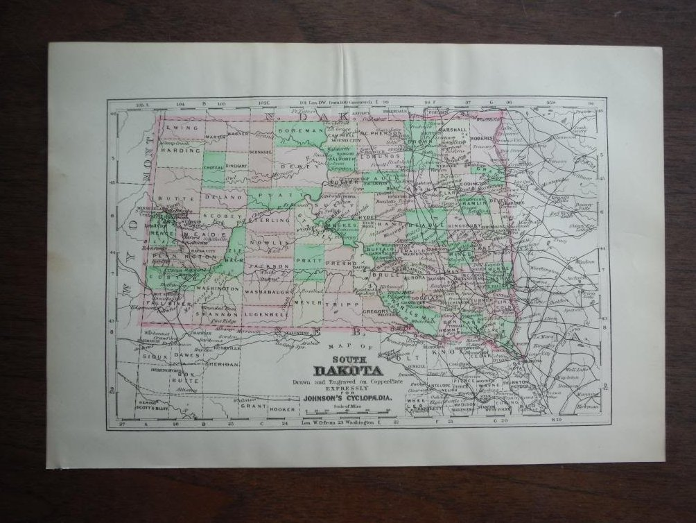Johnson's  Map of South Dakota -  Original (1895)