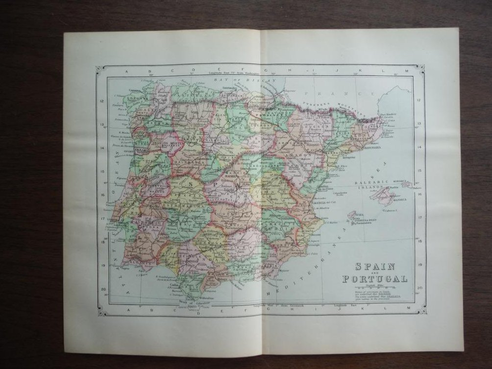 Johnson's  Map of Spain and Portugal -  Original (1895)