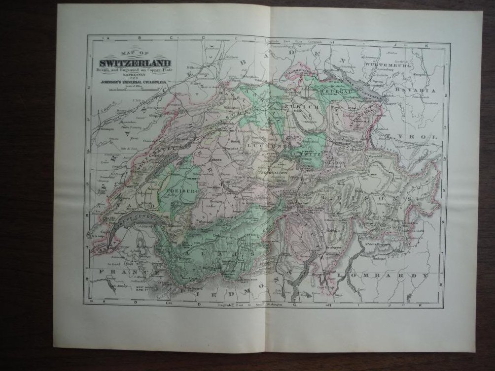 Johnson's  Map of Switzerland -  Original (1895)