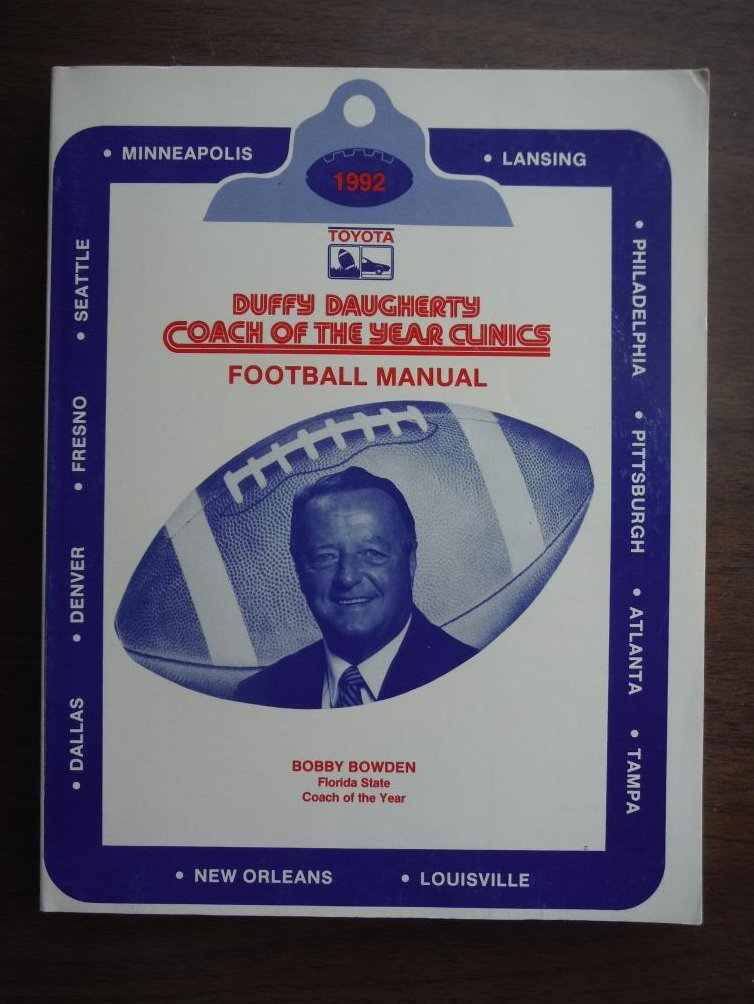Duffy Daugherty Coach of the Year Clinics Football Manual Bobby Bowden (1992)
