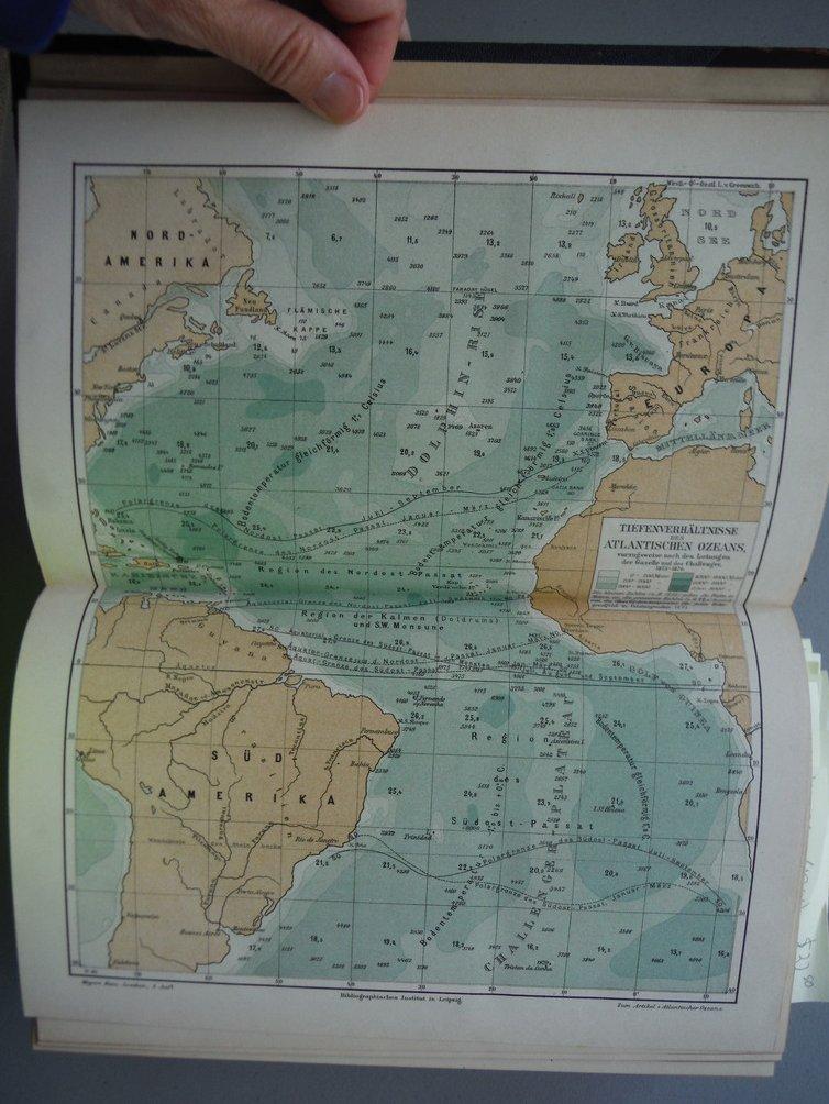 Original Colored Lithograph Tiefenverhaltnisse des Atlantischen Ozeans (Depth C