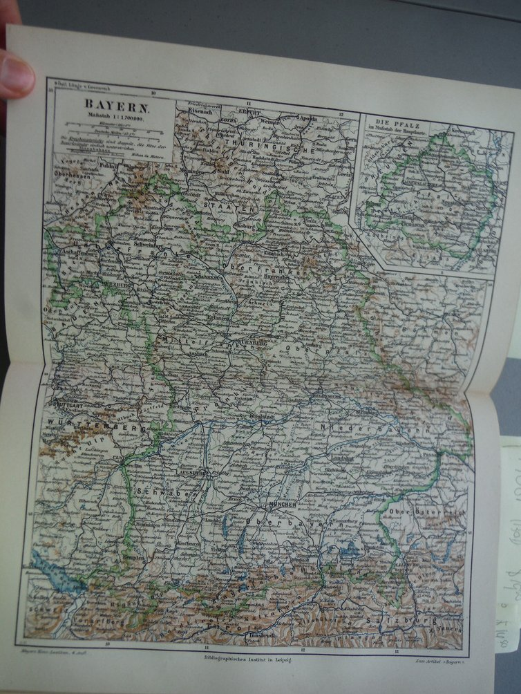 Original colored Engraving map entitled Bayern from Meyers  Konversations-Lex