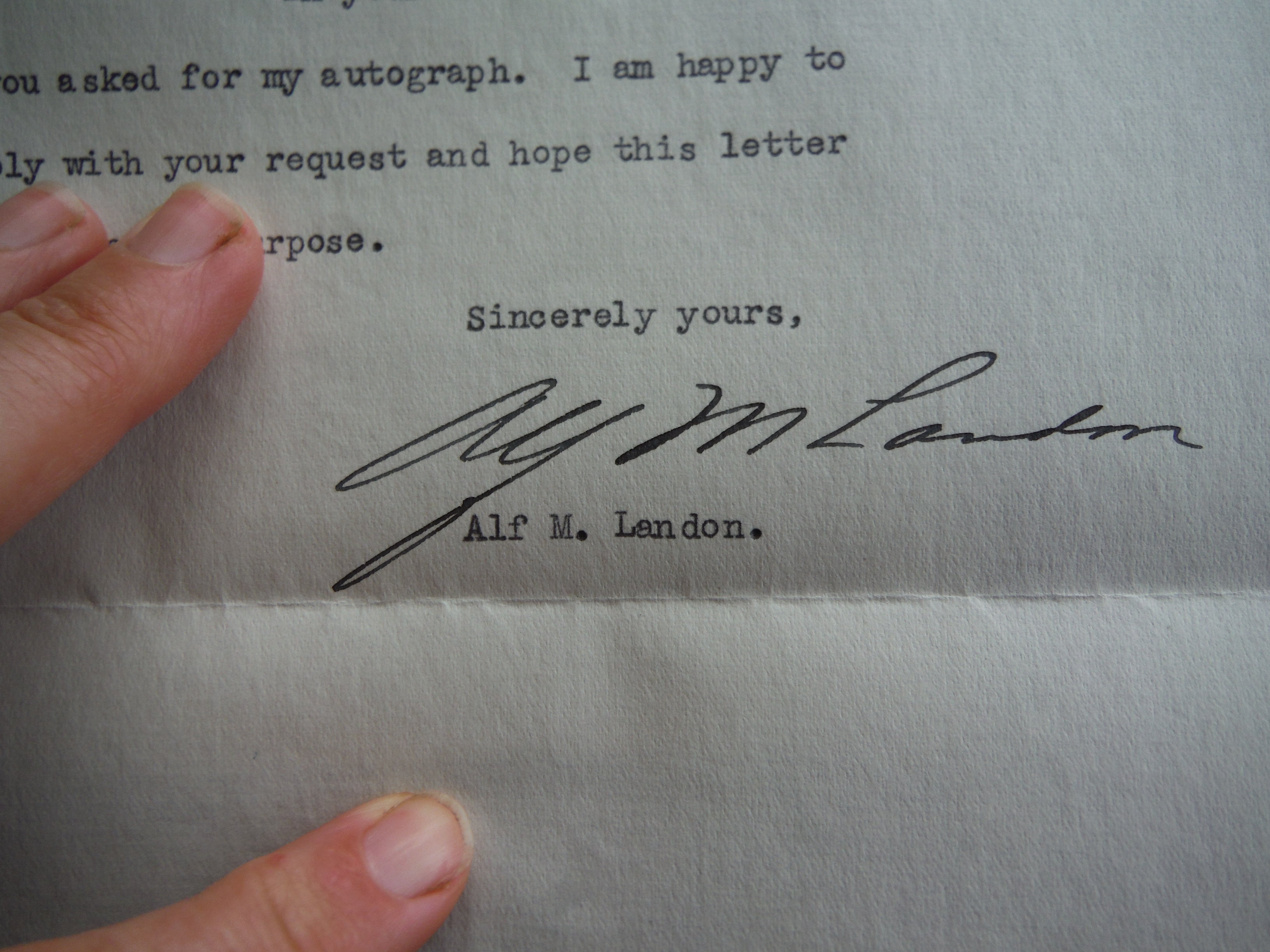 Alf M. Landon (Signed Letter with Envelope) - 1937