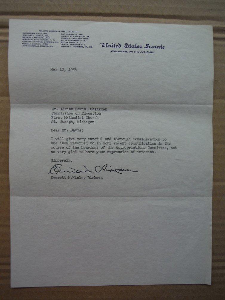 Senator Everett M. Dirksen autographed letter (1954)