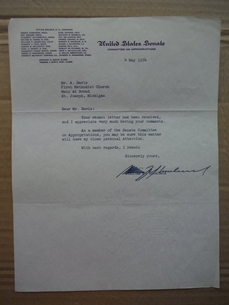 Image 0 of Senator William F. Knowland autographed letter (1954)