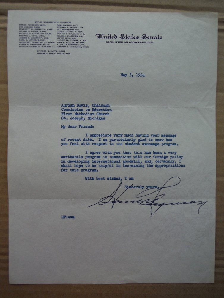 Senator Homer Ferguson autographed letter (1954)