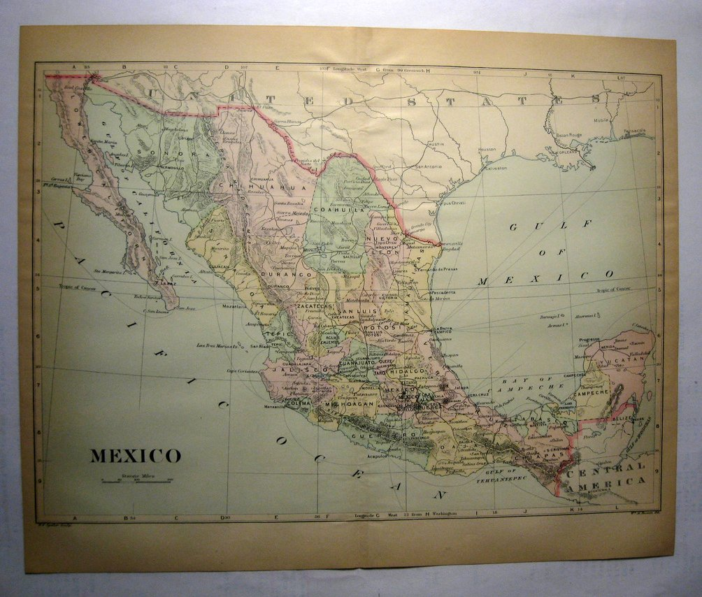 Johnson's  Map of Mexico-  Original (1897)