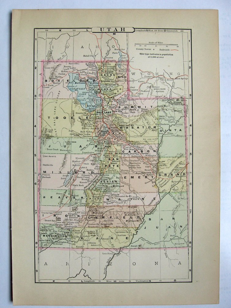 Johnson's  Map of Utah -  Original (1897)